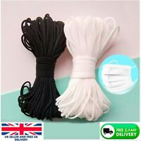 3mm Elastic Cord SOFT BLACK & WHITE Band Strap Sewing Craft For Face Mask