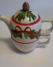 """Harry and David Christmas Teapot and cup,""""Tea for One""""perfect Great Gift"""