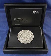 """2015 Royal Mint Plata 250g 80mm pistrucci """"Waterloo"""" medalla en estuche y certificado de autenticidad (C4/1)"""