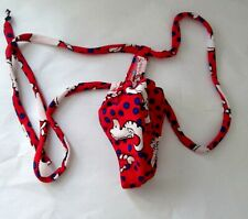 "Red Sea Horse & Blue Polka Dots Curved SlimJim G String Swimsuit 52"" NEW"