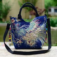 Women Florals Peacock Embroidered Shoulder Messenger Bag Satchel Purse Bags