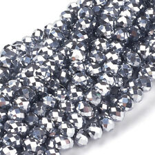 10 Strd Silver Plated Glass Beads Faceted Rondelle Electroplate Loose Bead 6x4mm