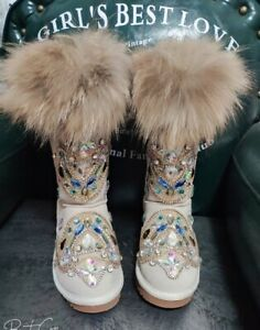 Womens Real Fox Fur Diamond Rhinestone Totem Ankle Boots Snow Winter Bling Shoes