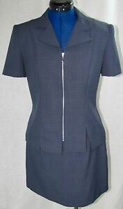 DBY Blue 2 PC Suit Gray Plaid Blazer Skirt Set 5/6 Jacket Zip 5 6 Stretch VTG