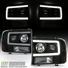 NEW Black 1999-2004 Ford F250 F350 F450 Super Duty LED Tube Projector Headlights