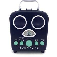 SunnyLife Portable Beach MP3 Speaker AM/FM Radio & Smartphone Holder Blue EUC