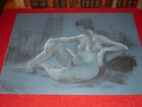 ANDRÉ LANDAUD 24-13 NAKED FEMALE Grd Drawing Charcoal-pastel paper blue 65X50