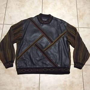 Vtg 90s Saxony Collection Size Large Sweater Leather Hip Hop Coogi Cosby Style