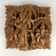Hand Carved BALINESE Bali Wood Relief Panel - RAMA & SITA - Ramayana VALMIKI