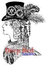 Deep Red Stamps Steampunk Lady Rubber Cling Stamp