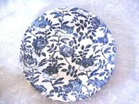 Collectible Vintage Cobalt Blue Chintz Rose / Peony Plate - Made in England