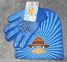 Disney PHINEAS & FERB AGENT P Knit Hat Beanie & Gloves ~ NWT