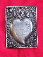 Tin/Silver Sacred Heart Milagro Ex Voto Plaque