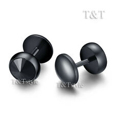 TT 8mm Black S.Steel Fake Ear Plug Round Stud Earrings body Piercing BE27D(8)