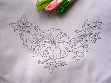 Printed Table Runner to Embroider with stargazer Lily cotton, lace edge CS0020