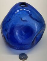 BLENKO Hand Blown  Cobalt Blue Crackle Glass Pinched/Dimpled Art Glass Vase