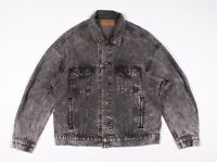 Vintage Levis Made In USA Gray Acid Wash Trucker Denim Jean Jacket Size L Large