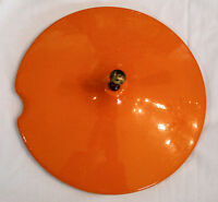 "Flame Orange Sauce Pan LID ONLY 7"" Pour Drain Notch Mid Century VTG Cookware"