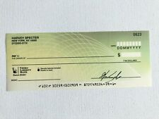 RARE Harvey Specter SUITS TV Series Blank Signed Personal Check Movie Prop