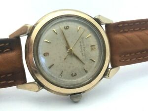 1950's GIRARD-PERREGAUX AUTOMATIC GYROMATIC ORIGINAL DIAL 10K GOLD FILLED RUNS