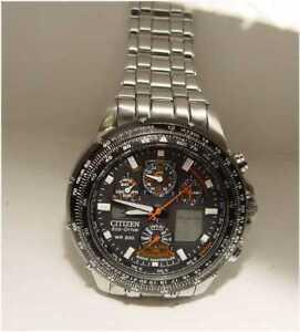 Citizen Radio Controlled Skyhawk GN-4W-S Eco-Drive Wristwatch Runs Excellent