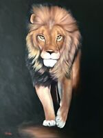 Original Wildlife art oil painting Nicolae Art Lion Artwork stretched canvas