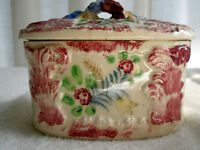 Vintage Covered Dish Handpainted Porcelain Oval Flowers Made in Japan