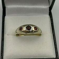 9ct Gold Hallmarked Garnet Gypsy Ring.  Goldmine Jewellers.
