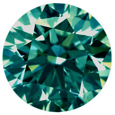 1.62 ct VVS1/7.77 MM BLUEISH GREEN LOOSE ROUND REAL MOISSANITE 4 RING/PENDANT