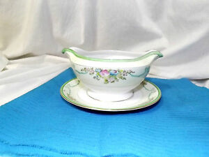 Gravy Boat Meito (Hand Painted Japan) China  with attached underplate VERY GOOD