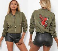 Ladies Womens Khaki Army Classic Bomber Jacket Vintage Zip Up Biker Coat Size 14