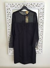 H&M Exclusive Black Sheer and Silky Mini Dress, Size UK 10, New Stunning