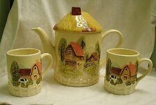 vintage Farm Scene Cottage Teapot & 2 Cups Maruri hand painted ceramic barn cow