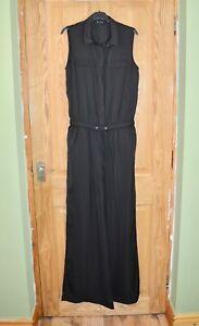 Ex Catalog Long Black Elegant Sleeveless Playsuit Jumpsuit Catsuit Size 8