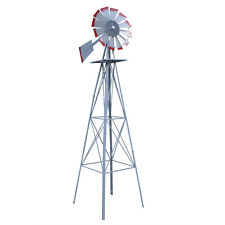 Red Tips 8FT Steel Tall Metal Outdoor Garden Farm Wind Mill Decoration Silver