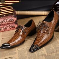 Mens Cowhdie Leather Oxford Dress Formal Shoes Metal Pointed Toe Lace Up Pumps