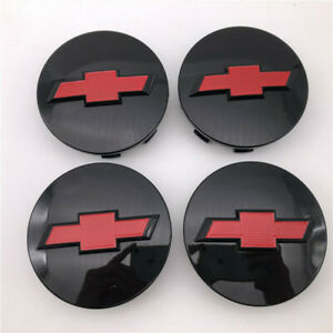 4 Glossy black red 3.25'' For Chevy Wheel Center Hub cap Suburban Silverado 1500