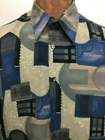 Monzini Collection Mens L Blue Gray Print Short-Sleeve Shirt Poly Made in USA
