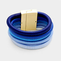 """8.50"""" blue coil wire bracelet bangle cuff magnetic 5 layer 1.75"""" wide"""