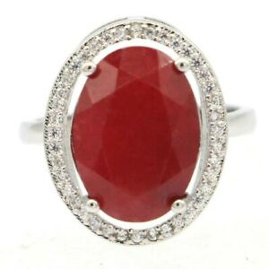 Elegant Real Red Ruby White CZ Jewelry For Woman's Silver Ring 6.0