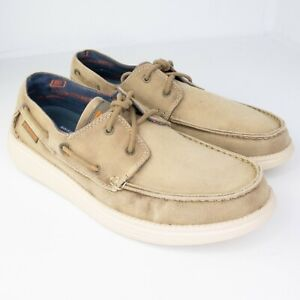 Men's Skechers Status Melec 64644 Beige Casual Boat Shoes Slip On SIZE 9