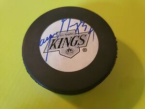 Wayne Gretzky Autographed Signed LA Kings Puck. Vintage retro 90s chevron logo.