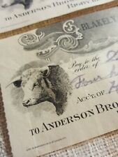 One Antique Paper Bank Check Sheepman Cattle Stock Rigby Idaho 1911