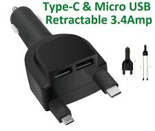 Quick Charge 3.0 2-in-1 Type-C ,Micro USB, 2 USB Port Retractable Car Charger