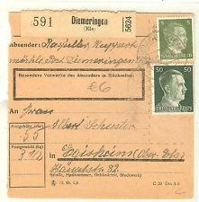 COLIS POSTAL DIEMERINGEN ALSACE occupation allemande 1939/45