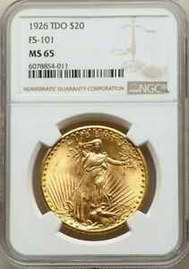 "1926 "" TDO FS-101 "" $20 GOLD * NGC MS65 * St. SAINT GAUDENS DOUBLE EAGLE * ERROR"