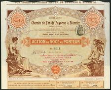 More details for france: chemin de fer de bayonne a biarritz, 500 francs share, 1900, with cou...