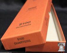 Quarter Coin Holder Roll ORANGE Storage Box MMF Holds up to 10 Rolls $100 Case