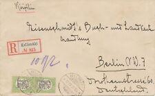 FINNLAND 1922 Wappen 2 M. (2x) selt. MeF a. Pra.-R-Bf KELLOMÄKI - BERLIN