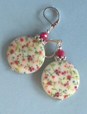 wild flowers MOTHER OF PEARL faceted JADE earring SP LEVERBACK artisan